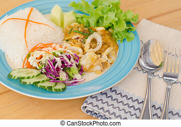 salato, mescolare, calamaro, tuorlo, uovo fritto