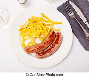 salchichas, cocina europea, -, oriental, papas