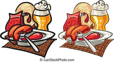 salchichas, salsade tomate, y, cerveza