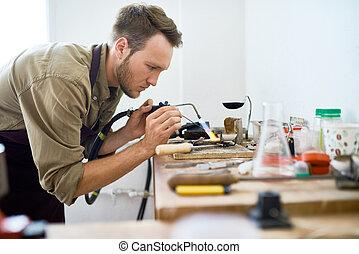 saldatura, artigiano, officina, metallo