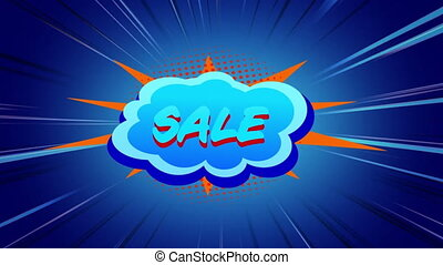 Sale graphic in blue cloud on blue background