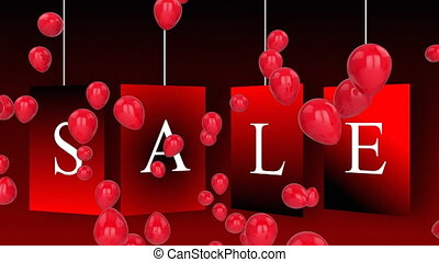 Salegraphicon red tags with balloons on dark background