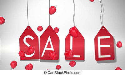 Salegraphicon red tags with balloons on white background