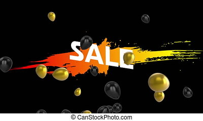 Salegraphicwith balloons on black background