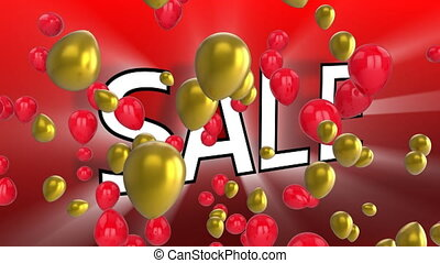 Salegraphicwith balloons on red background