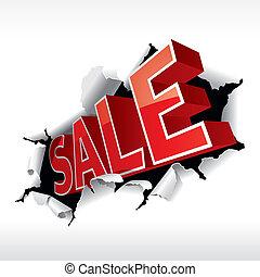 """""""sale"""", 碑文, 壊れ目, 白, バックグラウンド。, ベクトル, illustration."""
