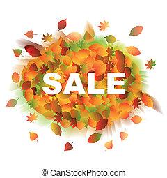 sale., 秋, leaves.