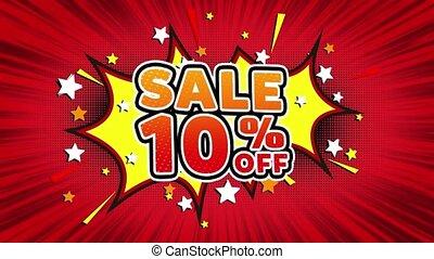 Sale 10% Off Word Retro Cartoon Comic Bubbles Seamless loop...