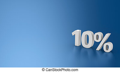 Sale 10% - Symbol 10% on the blue background, 3d computer ...
