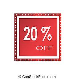Sale 20% off banner design over a white background, vector illustration