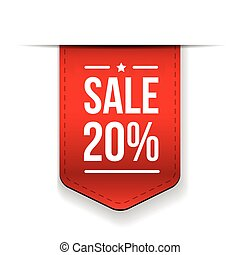 Sale 20% off banner red ribon