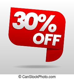 Sale 30% off. Discount or special offer.