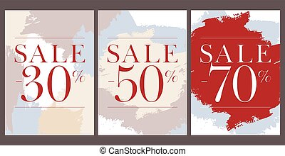 Set of beautiful sale posters with percent. Vector.