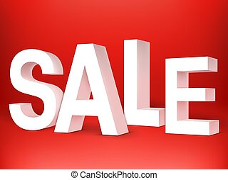 Sale 3D Letters on Red Background