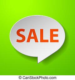 Sale 3d Speech Bubble on Green background