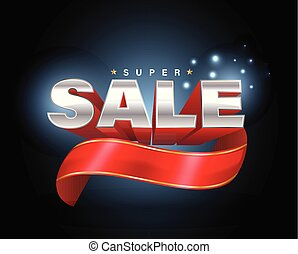 Sale 3D with red ribbon banner.
