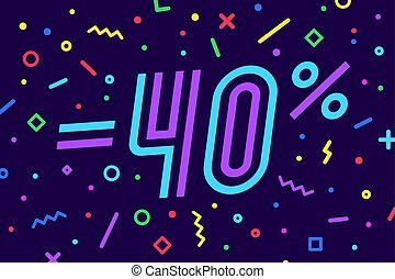 Sale -40 percent. Banner for discount, sale. Design of poster