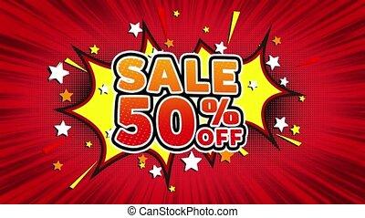 Sale 50 Off Word Retro Cartoon Comic Bubbles Seamless loop