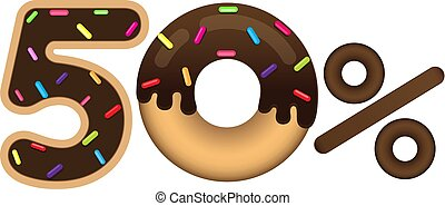 Sale 50 percent and discount price. Lettering made in the form of a donut with glaze isolated on white background. Sale of food.