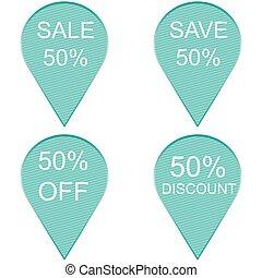 Sale 50 percent, Label