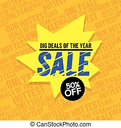 Sale 50 Percent Off Big Deals Of The Year Banner Vector Illustration