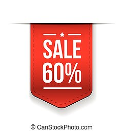 Sale 60% off banner red ribon