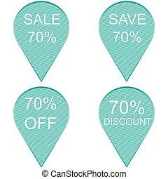 Sale 70 percent, Label