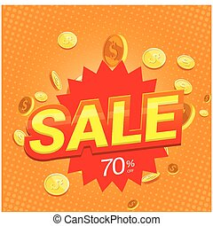 Sale 70% Speech Gold Coin Orange Background Vector Image