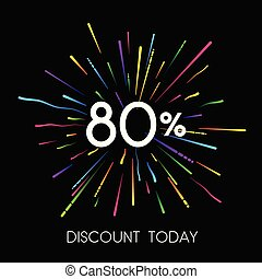 Sale 80% discount promo poster with colorful firework.