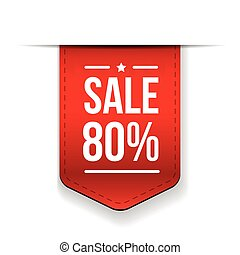 Sale 80% off banner red ribon