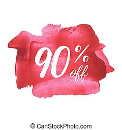 Sale 90% off red card, poster, logo, lettering, words, text written on painted background vector illustration