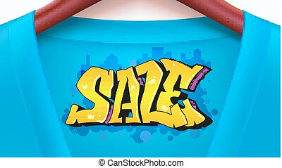 Sale ad banner with blue shirt. Jacket with tag hanging on hangers. Graffiti style, urban art text. Stylish, creativity offer for your design of posters, print design. Horizontal 3D illustration