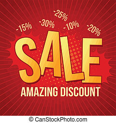 Sale, amazing discount design template on red background,...