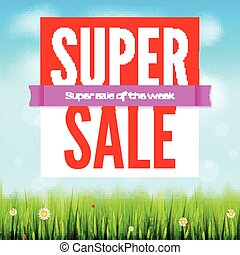 Sale an all kinds of items. Summer hot discounts. Selling ad banner. Sun summer background with big yellow sun, inflatable beach ball, green field, clouds and blue sky. Template for shopping