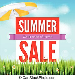 Sale an all kinds of items. Summer hot discounts. Selling ad banner. Sun summer background with sun umbrella green field, white clouds and blue sky. Template for shopping, advertising