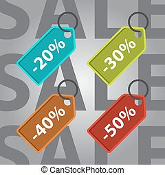 sale and discount colored icons