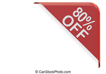 sale and discount concept, 80% off red corner. 3D rendering