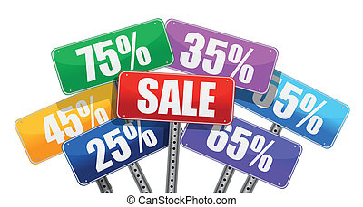 Sale and discount concept. color signs
