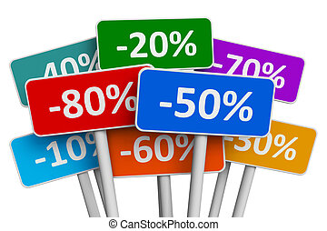 Sale and discount concept: set of color signs with discount percents isolated on white background
