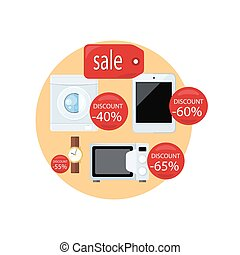 Sale and Discount Concept Vector Illustration.