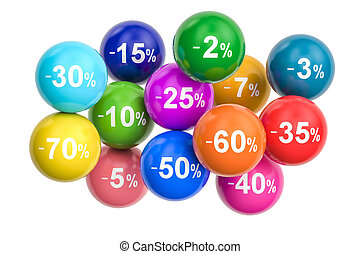 Sale and discount concept with colored balls. 3D rendering