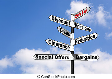 Black and white signpost with the words Sale, Discount, Price cuts, Deals, Reduction, Clearance, Special offers and Bargains against a blue cloudy sky. Good image for retail themes.