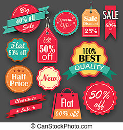 Sale and Discount tags - illustration of different sale and...