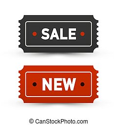Sale and New Tickets - Business Labels Set. Vector Paper Icons.