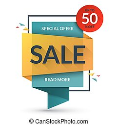 Sale and special offer banner. Discount vector template