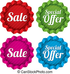 Sale and Special offer price tags set. Vector.