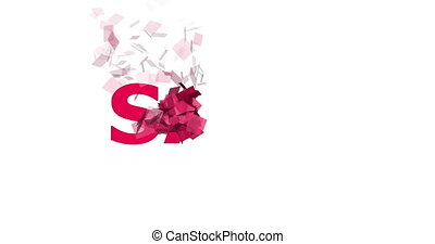 Sale. Animated text background for social media marketing advertising campaigns. 4K resolution animation with particles. Pink sale word animated on black background