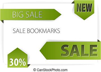 Sale announcements (tags, badges) - Green paper arrows -...