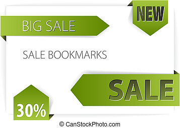 Sale announcements (tags, badges) - Green paper arrows -...