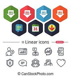 Sale arrow tag icons. Discount symbols.